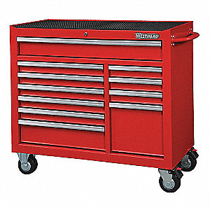"Red Heavy Duty Rolling Cabinet, 39-13/16"" H X 42"" W X 18-15/16"" D, Number of Drawers: 11"