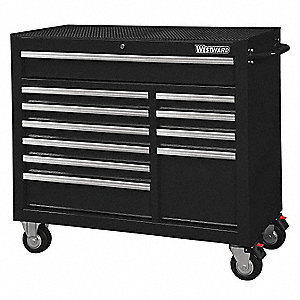 "Black Heavy Duty Rolling Cabinet, 39-13/16"" H X 42"" W X 18-15/16"" D, Number of Drawers: 11"