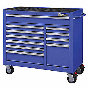 "Blue Heavy Duty Rolling Cabinet, 39-13/16"" H X 42"" W X 18-15/16"" D, Number of Drawers: 11"