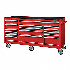 "Red Heavy Duty Rolling Cabinet, 40-1/2"" H X 72-1/4"" W X 24"" D, Number of Drawers: 16"