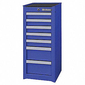 "Blue Standard Duty Side Cabinet, 33-13/16"" H X 15-1/2"" W X 18-1/8"" X D, Number of Drawers: 7"