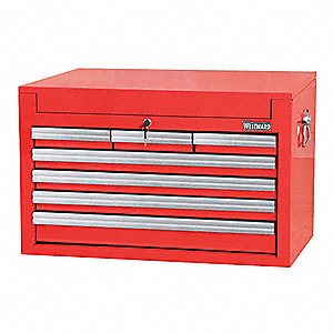 "Red Top Chest, 26"" Width x 12-1/16""  Depth x 17"" Height, Number of Drawers: 7"