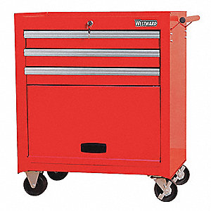 "Red Standard Duty Rolling Cabinet, 27-5/8"" H X 26-11/16"" W X 18-1/16"" D, Number of Drawers: 3"