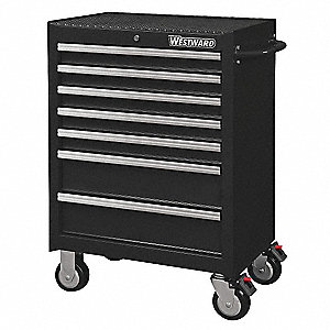 "Black Heavy Duty Rolling Cabinet, 39-7/16"" H X 26-11/16"" W X 18"" D, Number of Drawers: 7"