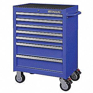 "Blue Heavy Duty Rolling Cabinet, 39-7/16"" H X 26-11/16"" W X 18"" D, Number of Drawers: 7"