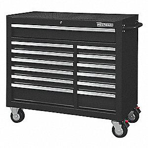 "Black Heavy Duty Rolling Cabinet, 39-13/16"" H X 42"" W X 18-15/16"" D, Number of Drawers: 13"