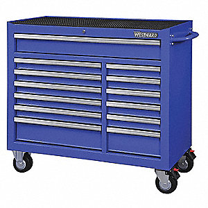 "Blue Heavy Duty Rolling Cabinet, 39-13/16"" H X 42"" W X 18-15/16"" D, Number of Drawers: 13"