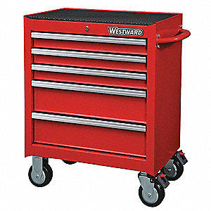 "Red Heavy Duty Rolling Cabinet, 33-5/16"" H X 26-11/16"" W X 18"" D, Number of Drawers: 5"