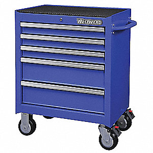 "Blue Heavy Duty Rolling Cabinet, 33-5/16"" H X 26-11/16"" W X 18"" D, Number of Drawers: 5"