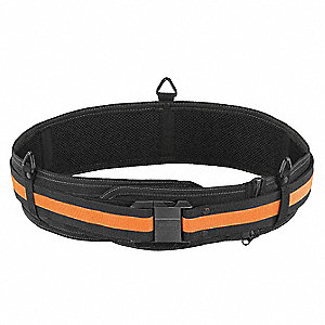 "Black/Yellow Work Belt, Polyester, ABS Plastic, 30 to 54"" Waist Size, Number of Pockets: 0"