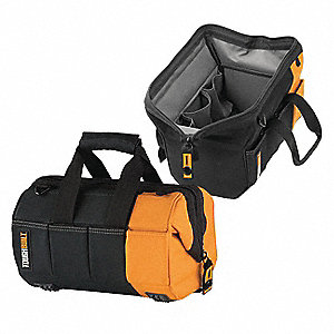 Canvas Tool Bag, General Purpose, Number of Pockets: 32, Black/Yellow