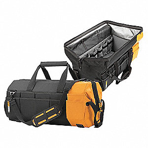 Canvas Tool Bag, General Purpose, Number of Pockets: 63, Black/Yellow