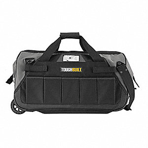 Canvas Rolling Tool Bag, Contractors, Number of Pockets: 61, Black