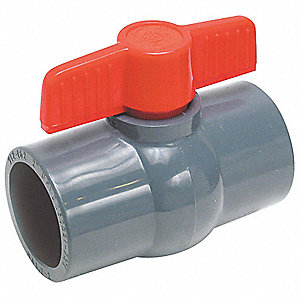 "PVC Socket x Socket Ball Valve, 1/2"" Pipe Size"