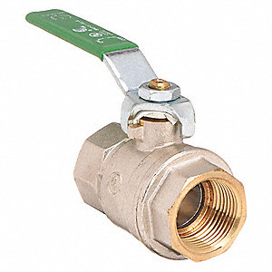 "Lead-Free Nickel Plated Brass FNPT x FNPT Ball Valve, Lever, 3/4"" Pipe Size"