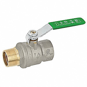 "Lead-Free Nickel Plated Brass FNPT x MNPT Ball Valve, Lever, 2"" Pipe Size"