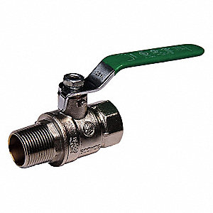 "Lead-Free Nickel Plated Brass FNPT x MNPT Ball Valve, Lever, 1"" Pipe Size"