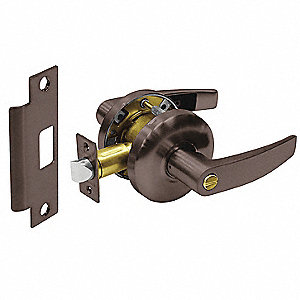 Oxidized Oil Rubbed Bronze Heavy Duty Keyed Different Privacy Lever, Curved Style