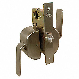Passage Grade-1 Mortise Lockset, Paddleset Handle Type, Satin Stainless Finish