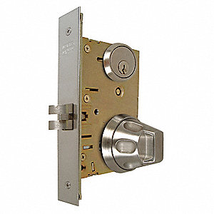 Storeroom Grade-1 Antiligature Mortise Lockset, Knob Handle Type, Satin Stainless Finish