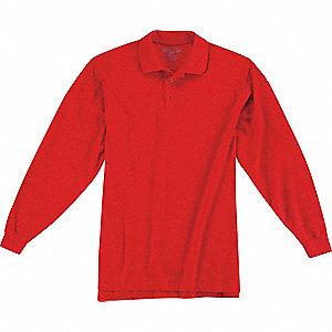 Utility Long Sleeve Polo,L,Range Red