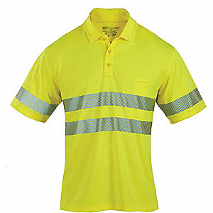 Yellow 100% Polyester HI-VIS Short Sleeve Polo, Size: XL, ANSI Class 2