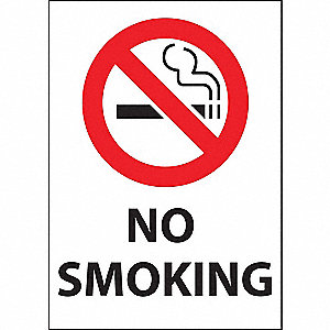 "No Smoking, Plastic, 7"" x 5"", Adhesive Surface"