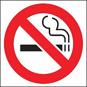 "No Smoking, No Header, Plastic, 6"" x 6"", Adhesive Surface"
