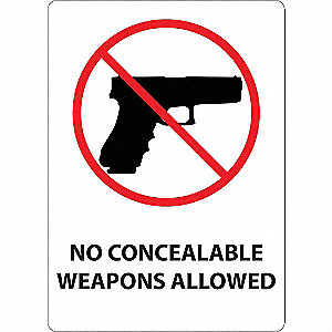 S. Carolina Concealed Carry Sign,English
