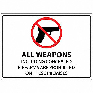 Concealed Carry Sign,Text and Symbol,ENG