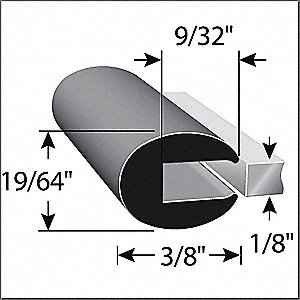 RUBBER EDGE TRIM 1/8IN GAP 10FT