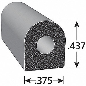 RUBBER SEAL D-SECTION 10FT