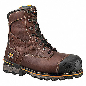 "8""H Men's Work Boots, Composite Toe Type, Leather Upper Material, Brown, Size 10W"