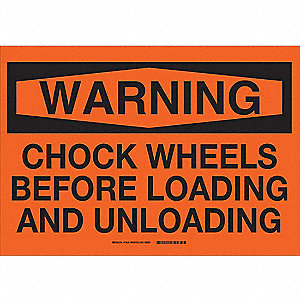"Chock Wheels, Warning, Fiberglass, 14"" x 20"", With Mounting Holes, Not Retroreflective"