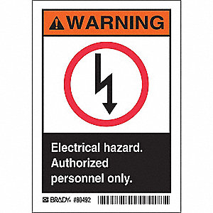 "Electrical Hazard, Warning, Polyester, 3-1/2"" x 5"", Adhesive Surface, Not Retroreflective"