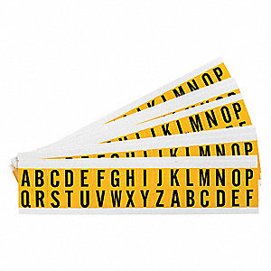 "Letter Label, A Thru Z, Black/Yellow, 5/8"" Character Height, 25 PK"