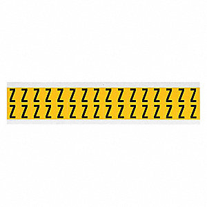 "Letter Label, Z, Black/Yellow, 5/8"" Character Height, 1 EA"