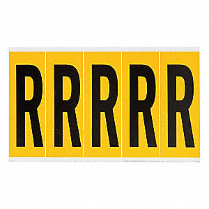 "Letter Label, R, Black/Yellow, 3-7/8"" Character Height, 1 EA"