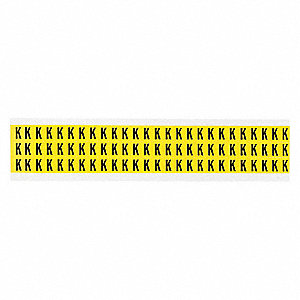 "Letter Label, K, Black/Yellow, 3/8"" Character Height, 1 EA"