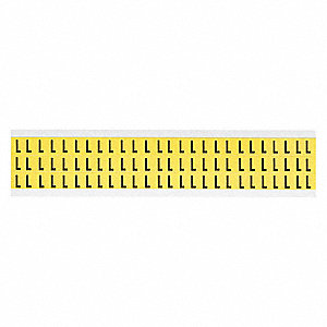 "Letter Label, L, Black/Yellow, 3/8"" Character Height, 1 EA"