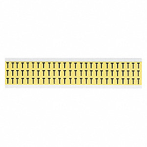 "Letter Label, T, Black/Yellow, 3/8"" Character Height, 1 EA"