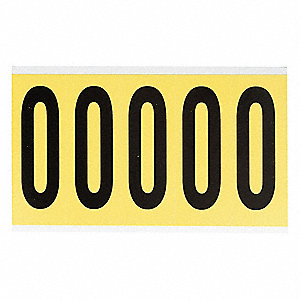 "Letter Label, O, Black/Yellow, 3-7/8"" Character Height, 1 EA"