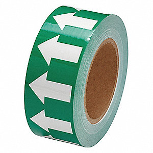 Arrow Tape,2inWx30 yd.,White/Green,Poly