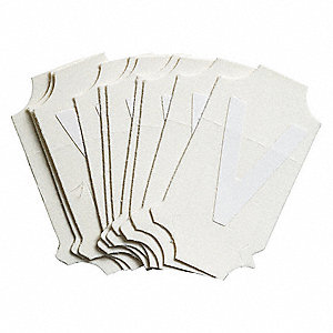 "Letter Label, V, White, 1"" Character Height, 10 PK"