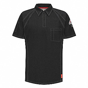 "Black Flame-Resistant Polo Shirt, Size: M, Fits Chest Size: 38"" to 41"", 8.2 cal./cm2 ATPV Rating"
