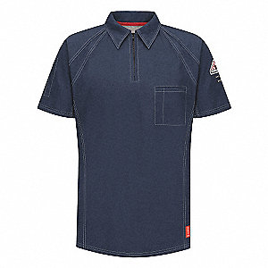 "Dark Blue Flame-Resistant Polo Shirt, Size: L, Fits Chest Size: 41"" to 45"", 8.2 cal./cm2 ATPV Rating"