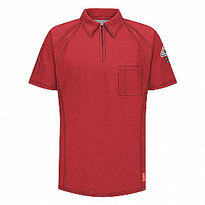 FR Polo Shirt,Rd,4XL,Short,Zipper