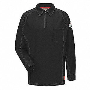 "Black Flame-Resistant Polo Shirt, Size: L, Fits Chest Size: 41"" to 45"", 8.2 cal./cm2 ATPV Rating"