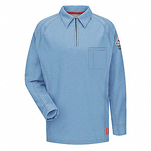 "Blue Flame-Resistant Polo Shirt, Size: 2XL, Fits Chest Size: 49-1/2"" to 54"", 8.2 cal./cm2 ATPV Ratin"