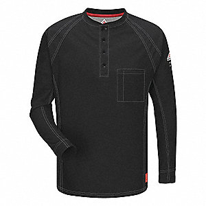FR Polo Shirt,Blk,M,Long,Button